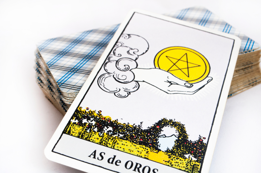 the deck of Tarot cards on white background, top down card as of golds
